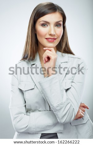 Portrait of smiling business woman. Isolated female model.