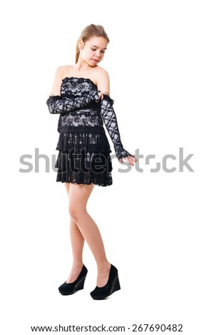 Portrait of smiling business woman, isolated on white - stock photo