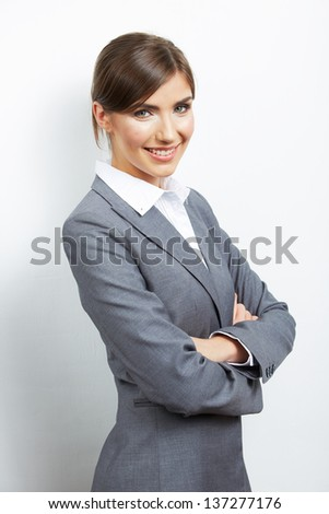 Portrait of smiling  business woman, isolated on white background.Female model. - stock photo