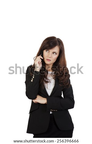Portrait of smiling business woman phone talking, isolated on white background - stock photo