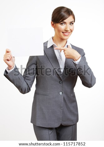 Portrait of smiling  business woman show blank paper, isolated on white background - stock photo