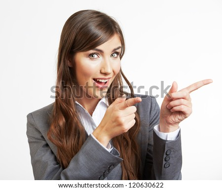 Portrait of smiling  business woman show finger, isolated on white background - stock photo