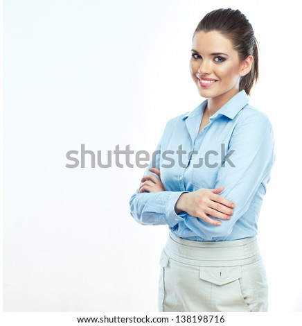 Portrait of smiling business woman  white background isolated. Female business model . - stock photo