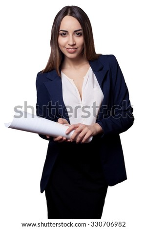 Portrait of smiling  business woman with blank paper, isolated on white background - stock photo