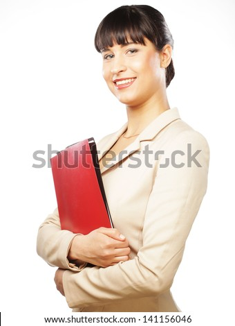 Portrait of smiling business woman with folders, isolated on white background