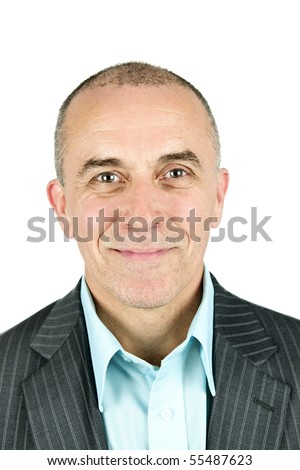 Portrait of smiling businessman isolated on white background - stock photo