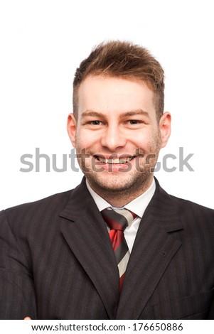 portrait of smiling businessman on white  - stock photo