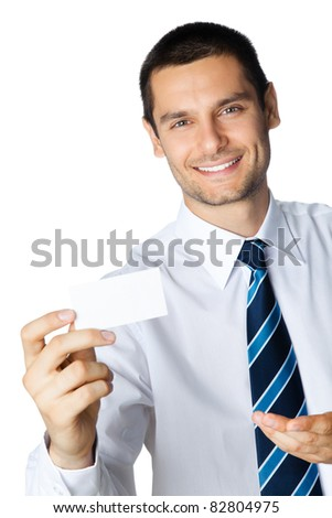 Portrait of smiling businessman showing blank business card, isolated on white background - stock photo
