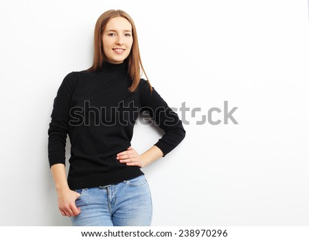 Portrait of smiling casual woman, over white background