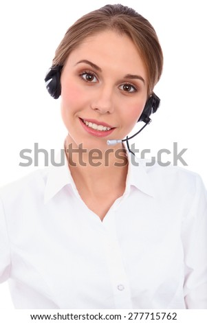 Portrait of smiling cheerful young support phone operator in headset, isolated over white background - stock photo