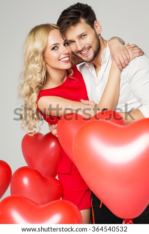 Portrait of smiling couple. Valentine's day - stock photo