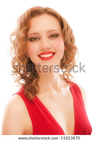 Portrait of smiling darling girl, isolated on white background.