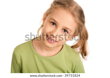 Portrait of smiling girl looking at camera over white background - stock photo