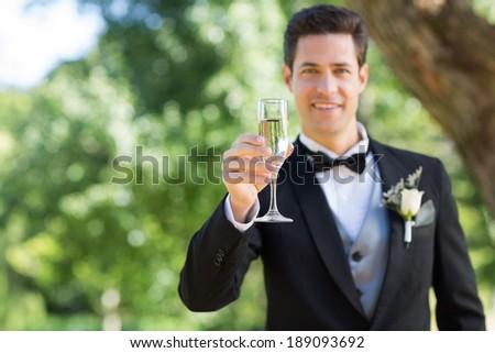 Portrait of smiling groom holding champagne flute in garden - stock photo