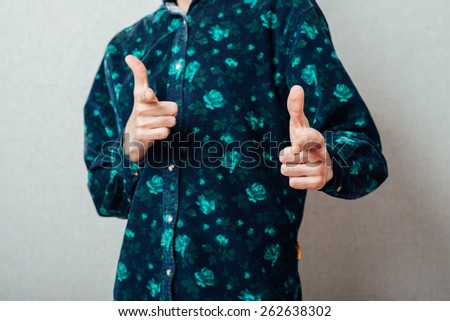 Portrait of smiling handsome  bearded man pointing at you  - stock photo