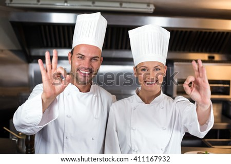 Portrait of smiling happy chefs showing ok signs in commercial kitchen - stock photo