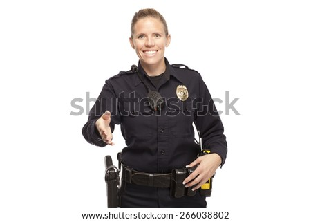 Portrait of smiling lady police officer offering handshake against white background - stock photo