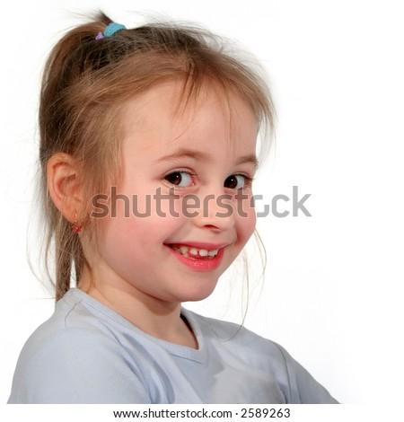 Portrait of smiling little girl over white - stock photo
