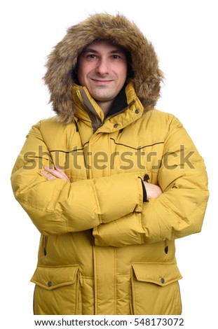 portrait of smiling man in winter coat. isolated on white background
