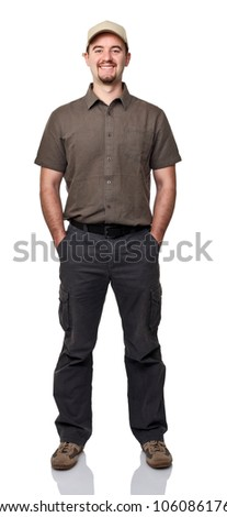 portrait of smiling manual worker on white background