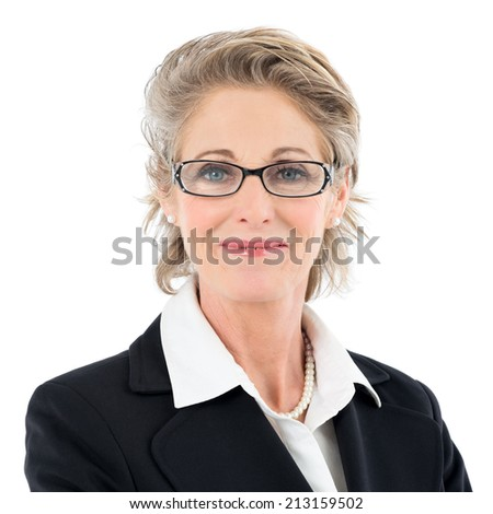 Portrait Of Smiling Mature Businesswoman Looking At Camera Isolated Over White Background - stock photo