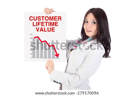 "Portrait of smiling office young woman, with long dark hairs, looking ahead, with white poster in hands, poster is a graph and arrow down, words ""Customer lifetime value"", on white background"