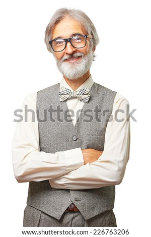Portrait of smiling old fashioned senior man with gray beard, glasses and bowtie with hands folded isolated on white background - stock photo
