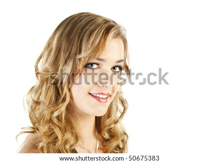 Portrait of smiling pretty blond young woman, isolated on white - stock photo