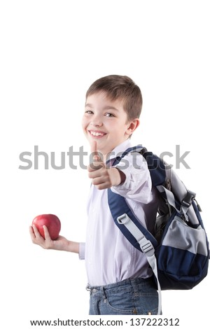 Portrait of smiling schoolboy with rucksack holding book and apple - stock photo