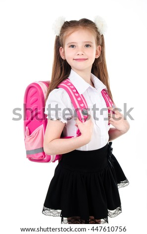 Portrait of smiling schoolgirl in uniform with backpack isolated on a white background