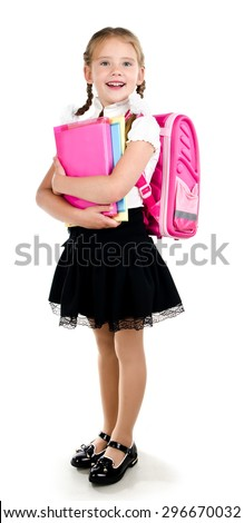 Portrait of smiling schoolgirl with backpack and books isolated on a white background