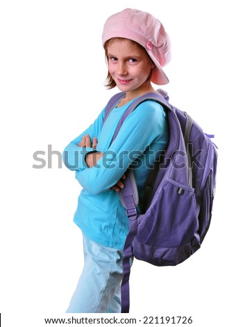 Portrait of smiling schoolgirl with backpack posing. Isolated over white background. Education childhood concept - stock photo