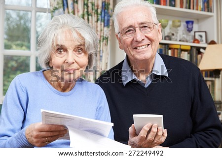 Portrait Of Smiling Senior Couple Reviewing Home Finances - stock photo