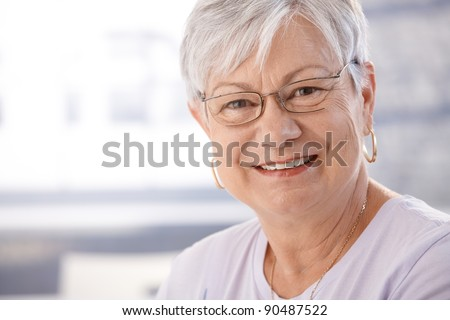 Portrait of smiling senior woman.? - stock photo