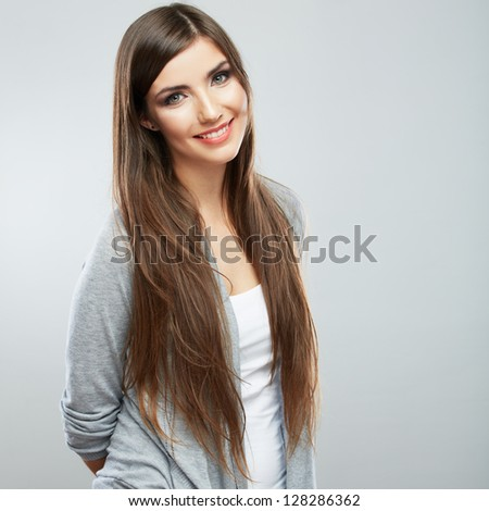 portrait of smiling teenager isolated on white background