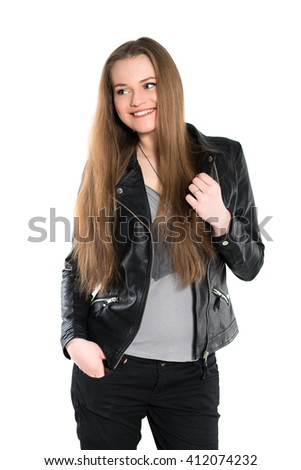 Portrait of smiling woman posing in black jacket. Isolated on white - stock photo