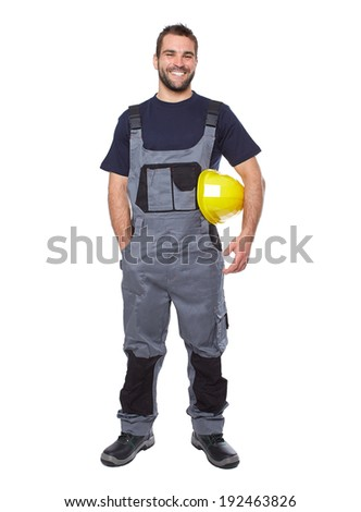 Portrait of smiling worker in gray uniform isolated on white background  - stock photo