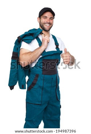 Portrait of smiling worker in green uniform isolated on white background - stock photo