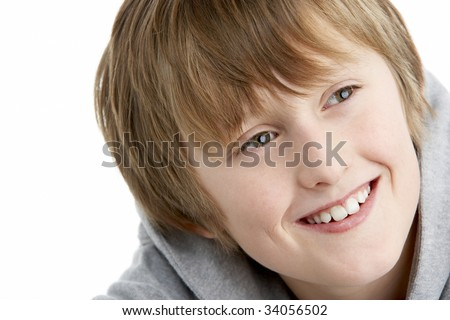 Portrait Of Smiling 10 Year Old boy - stock photo