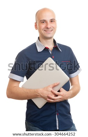 Portrait of smiling young bald man with laptop isolated over white background. - stock photo