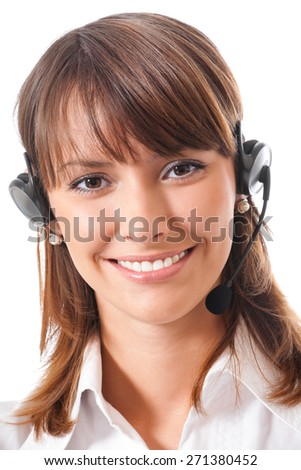 Portrait of smiling young female support phone operator or call center worker in headset, isolated against white background - stock photo
