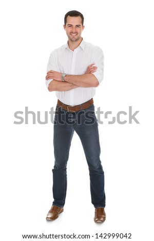 Portrait of smiling young man. Isolated on white - stock photo