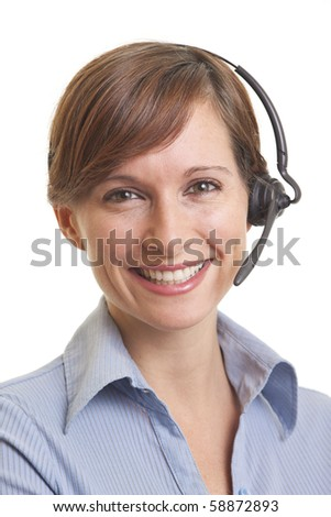 Portrait of smiling young woman telemarketer - stock photo