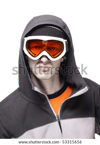 Portrait of snowboarder in orange glasses isolated on white - stock photo