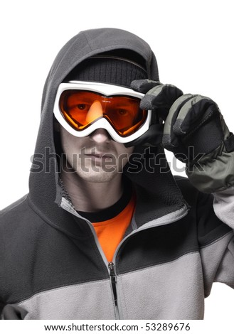 Portrait of snowboarder setting orange glasses straight isolated on white