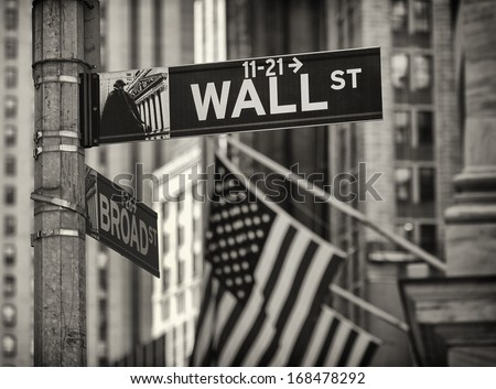 Portrait of some details of the famous Wall Street in New York city. - stock photo
