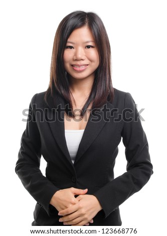 Portrait of Southeast Asian business / educational woman over white background