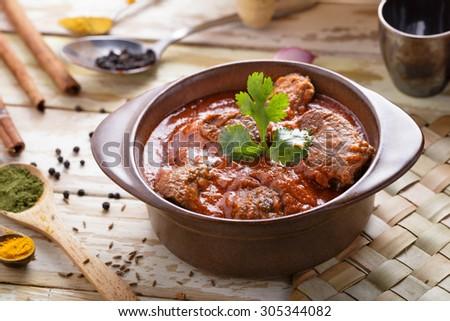 portrait of spicy indian lamb rogan josh - stock photo