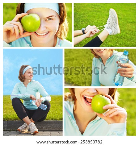 Portrait of sporty smiling woman with green apple on a grass background. outdoor sports. healthy lifestyle. set, collection - stock photo