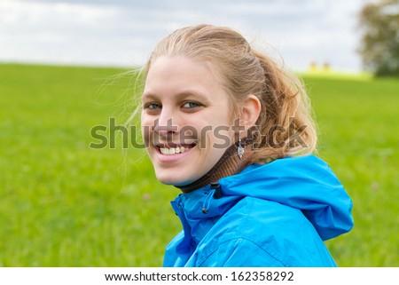 Portrait of sporty woman - stock photo